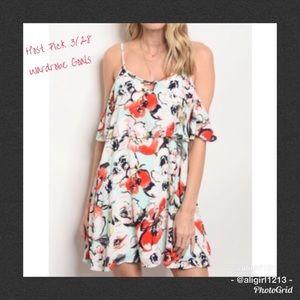 2 LEFT - Cold Shoulder Floral Dress